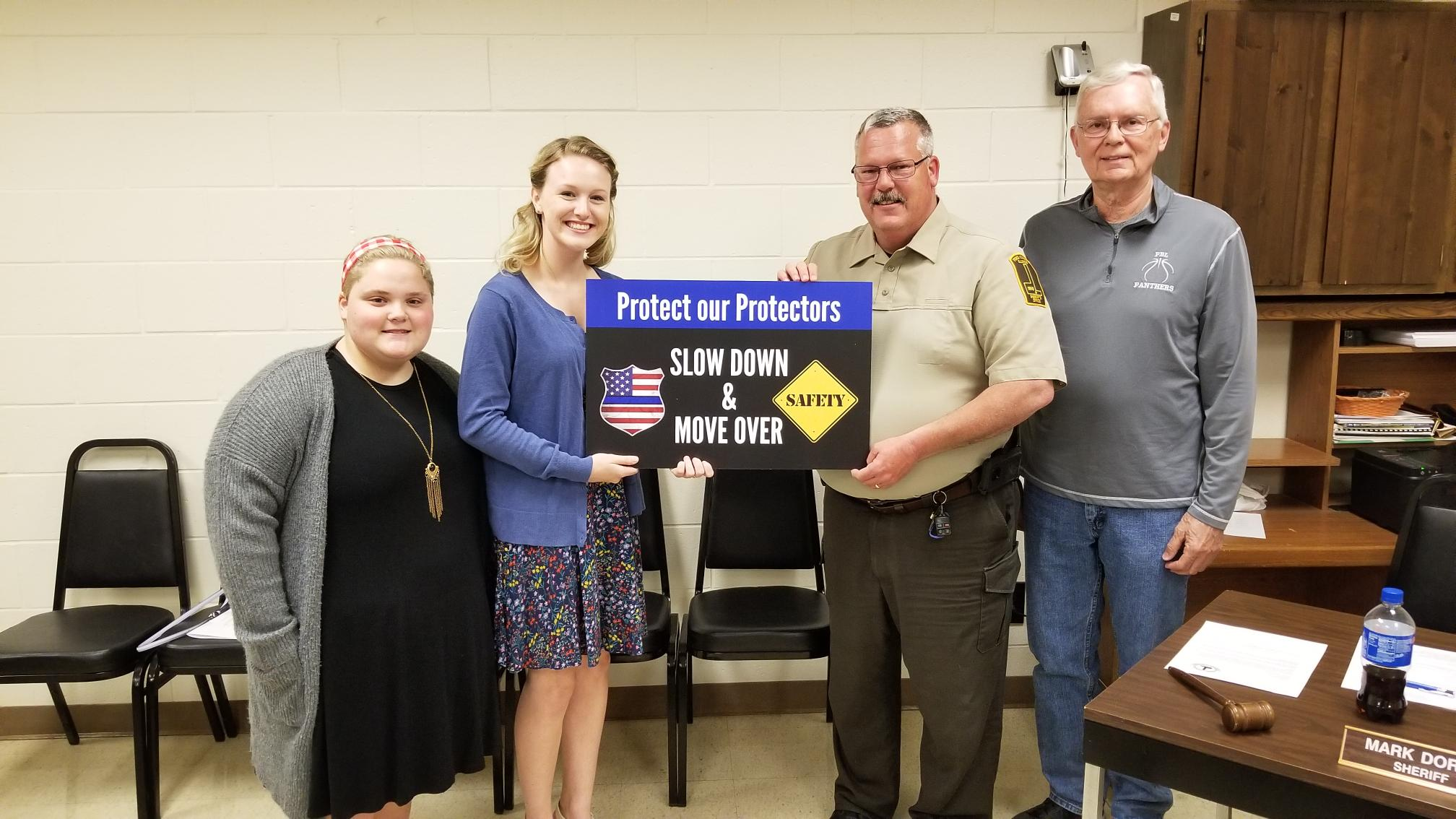 GCMS IGNITION PROJECT (LEFT TO RIGHT: HANNAH CLIFF, PAYTON BEACH, SHERIFF DORAN & GREG PERKINSON
